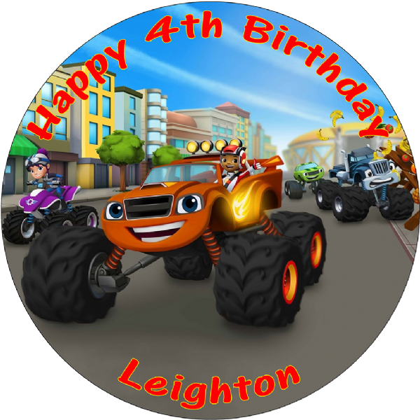 BLAZE AND THE MONSTER MACHINES ROUND EDIBLE  PRINTED BIRTHDAY CAKE TOPPER